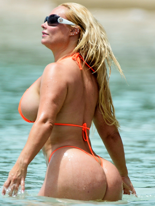 Ice-T and his wife Coco Austin are spotted on Sandy Lane Beach i