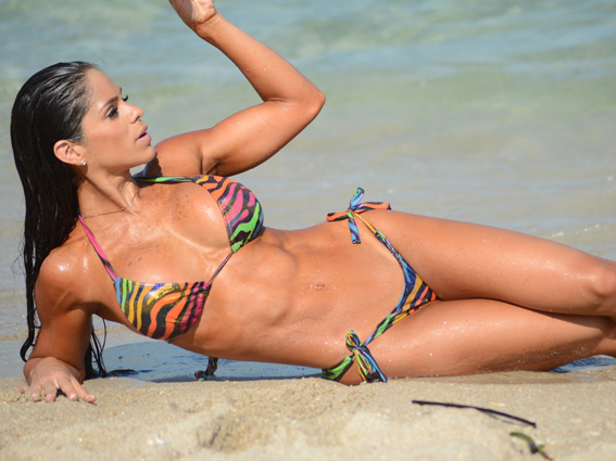 Model Michelle Lewin shows why she has filmed a fitness video in