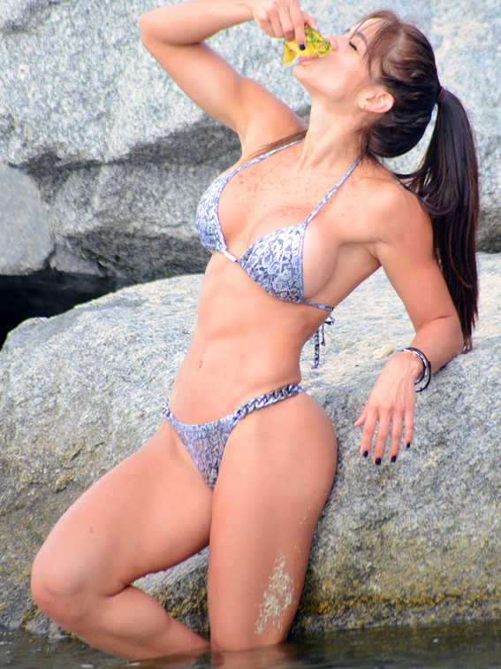 Michelle Lewin gets fruity on the beach